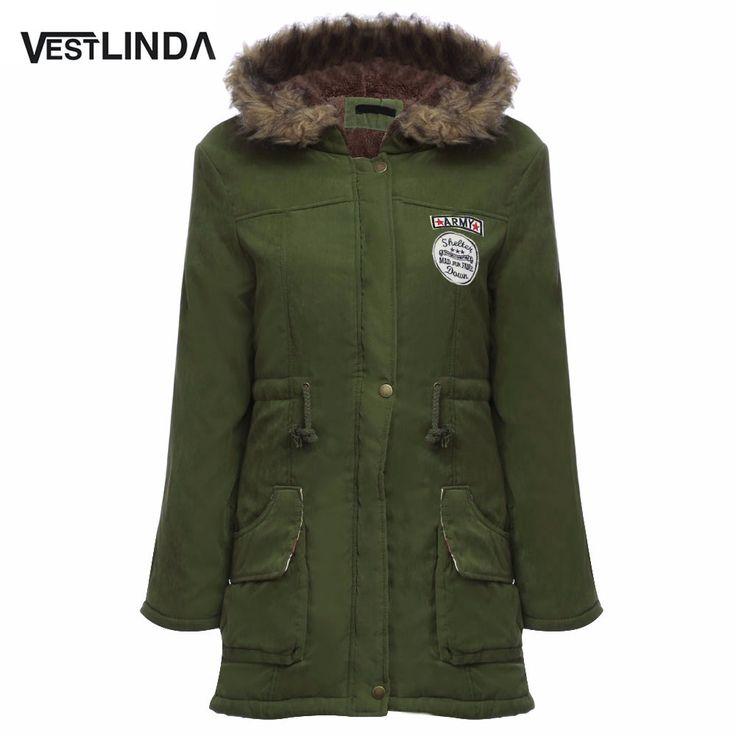 Vestlindaコート大きなサイズの毛皮フード付き暖かいコートアーミーグリーン巾着ジャケットコート冬ジャケット女性暖かいコートパーカープラスサイズ