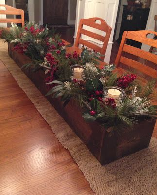 Table centerpiece- i'll use this template in my head..ill do those soft long evergreens around some grubby candles and add a few of my fake presents i wrapped in primitive papers!!