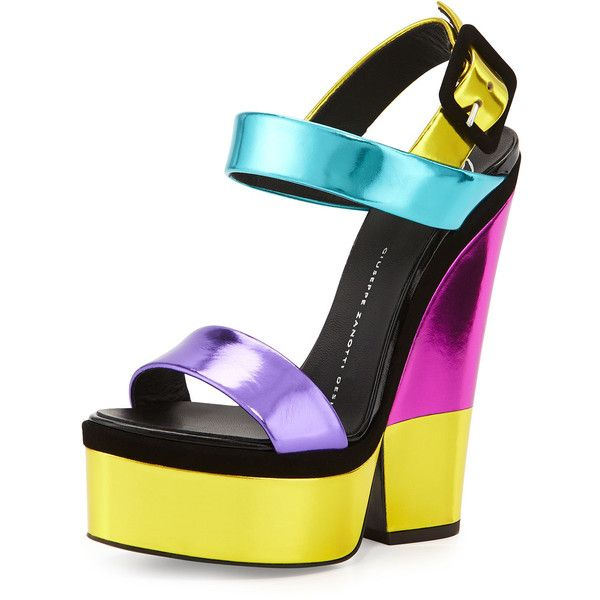 Giuseppe Zanotti Metallic Leather High-Heel Sandal ($770) ❤ liked on Polyvore featuring shoes, sandals, purple, platform sandals, leather wedge sandals, metallic platform sandals, open toe wedge sandals and purple sandals