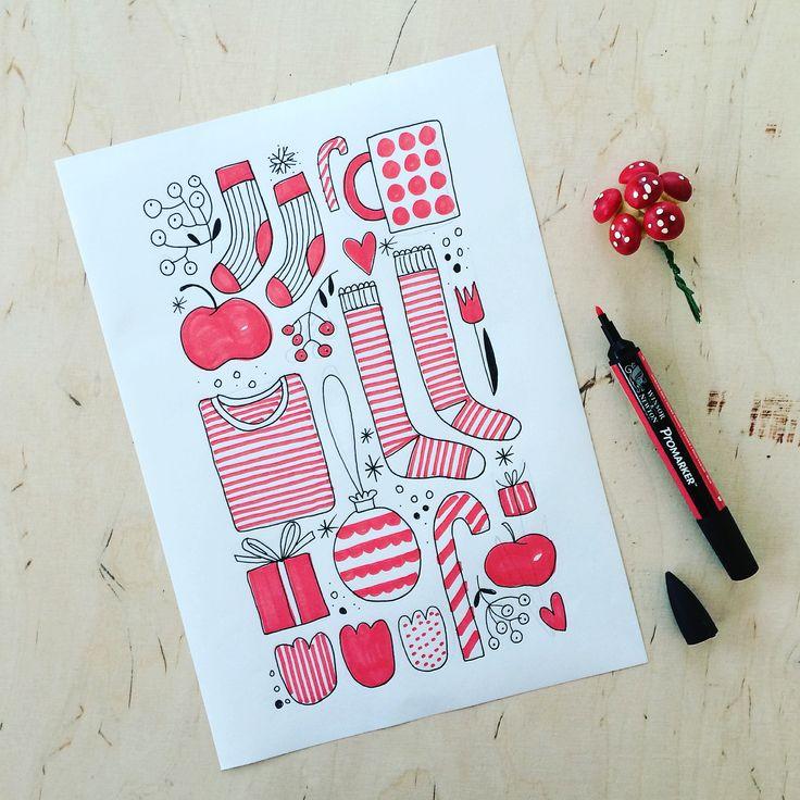 My wishlist. Daily drawing. My sketchbook. Christmas illustration. By Johanna Sandberg.