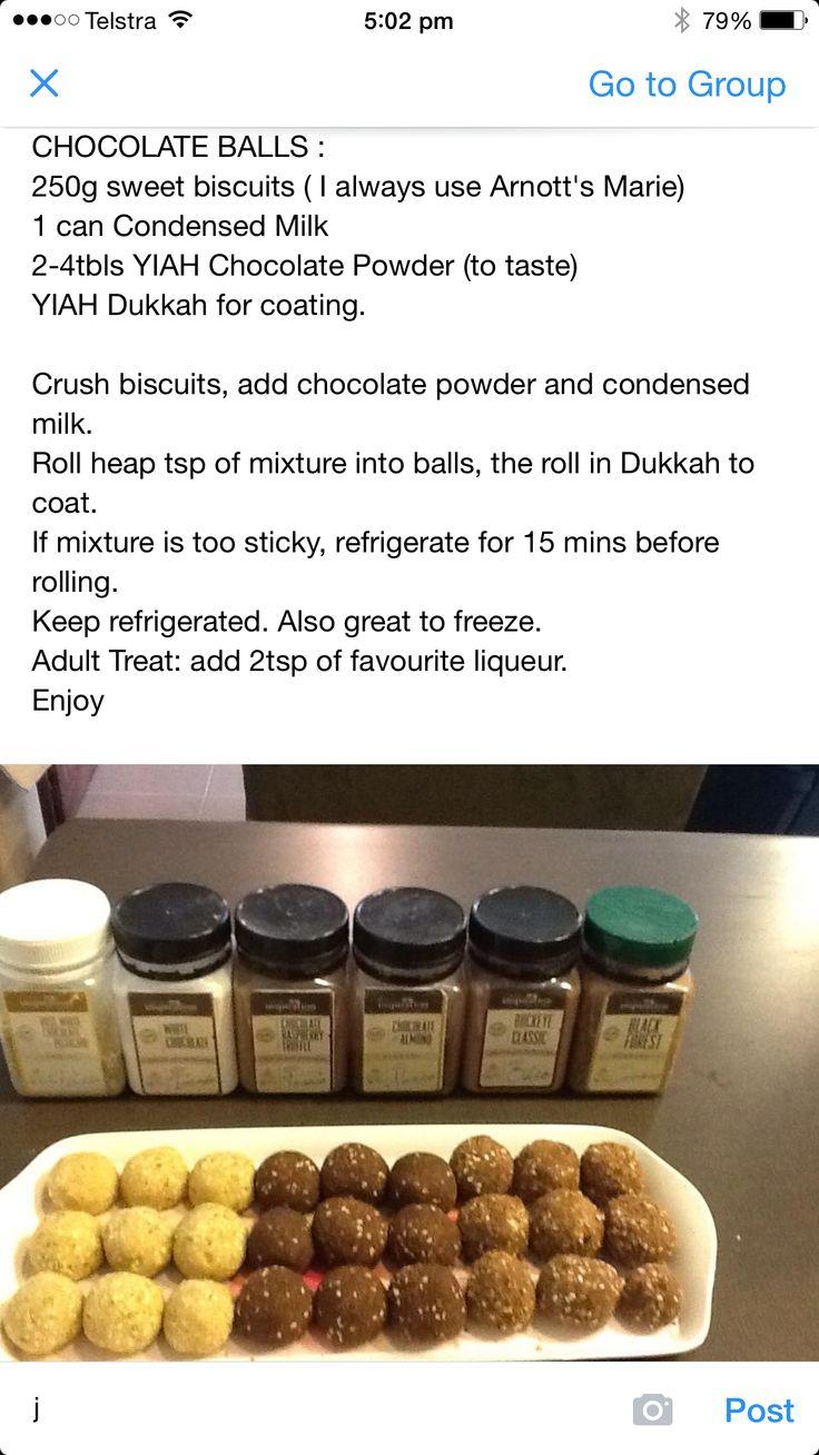 Yiah chocolate balls using chocolate powders Http://jessicawest.yourinspirationathome.com.au