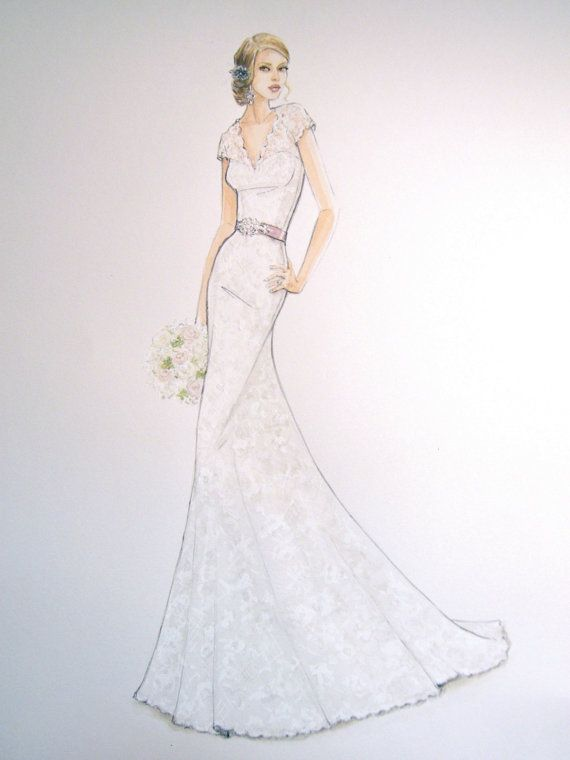 Custom Wedding Dress Sketch  by ForeverYourDress, $150.00 www.foreveryourdress.com *better photo image on etsy when you click the link