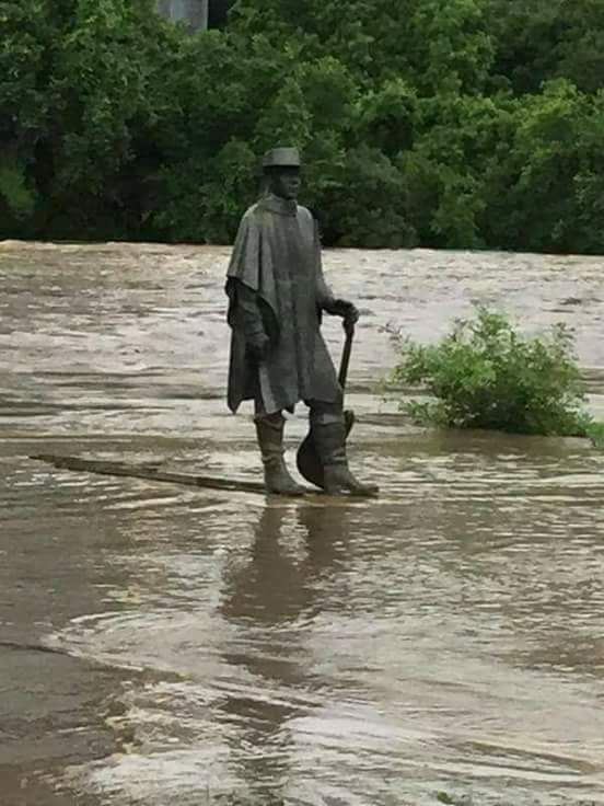 This statue of Stevie Ray Vaughan in a Texas Flood.