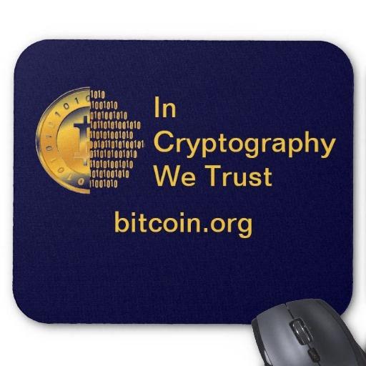 Tapete para ratón de ordenador. Bitcoin - M3. In Cryptography We Trust. Más productos BITCOIN:  http://www.zazzle.es/lamareanaranja/regalos?cg=196938480424491766