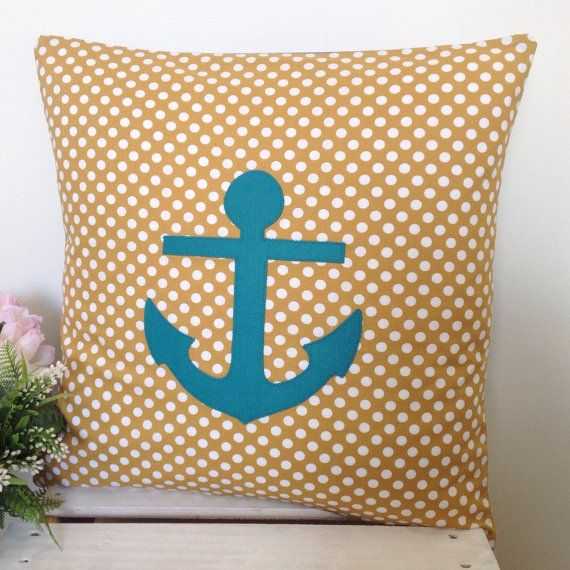 Cushion Cover Mustard Polka Dot Fabric Teal by natandalicreative