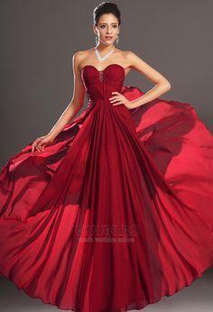 Vestido+de+noche+Rojo+Oscuro+Sin+tirantes+Para+Imperio+Natural+Cremallera