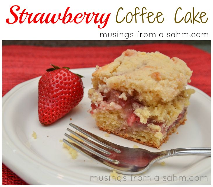 Strawberry Coffee Cake recipe - With a burst of sweet strawberry flavor in the center, this Strawberry Coffee Cake is the perfect mid-morning summer snack; not too sweet either!
