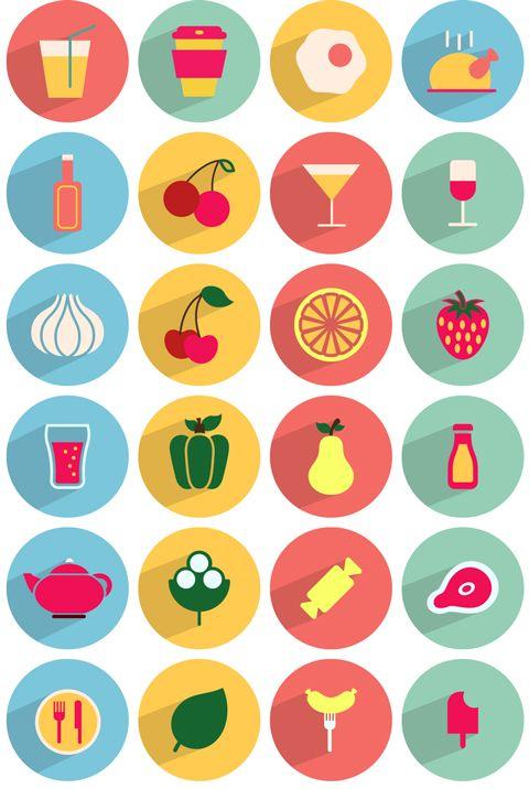 [Ressource] – 50 icônes flat design Food & Drink