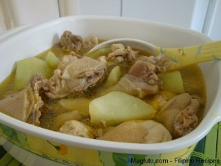 Filipino Recipe TINOLAND MANOK.  Ingredients:  1 whole yellow chicken, cut into pieces; 3 sayote, cut into small pieces; 1 ginger root, slice; 12 cups water; 3 cloves garlic, minced; 1 small onion, diced; cooking oil; 1 tbsp salt