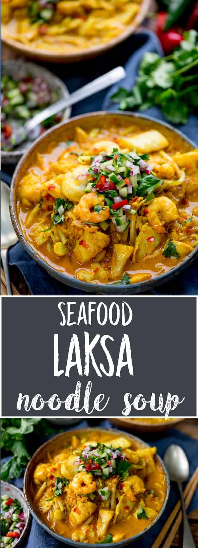 Got a Thai food craving? Why not try this super delicious Thai Seafood Laksa. Agreat way to get a fabulous Thai meal on the table quickly, using only one pan and ready in less than 30 minutes. If you like Thai food like I do then you will LOVE this! #laska #laksacurry #seafood #currypaste #glutenfreecurry #fishcurry via @kitchensanc2ary