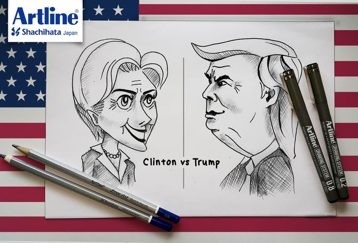 Who do you think is the best for U.S & the world? #Artline #LoveArt #SketchPencil #DrawingSystem #Clinton #Trump