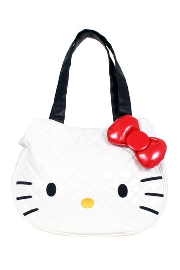{Hello Kitty White Quilted Face Tote}