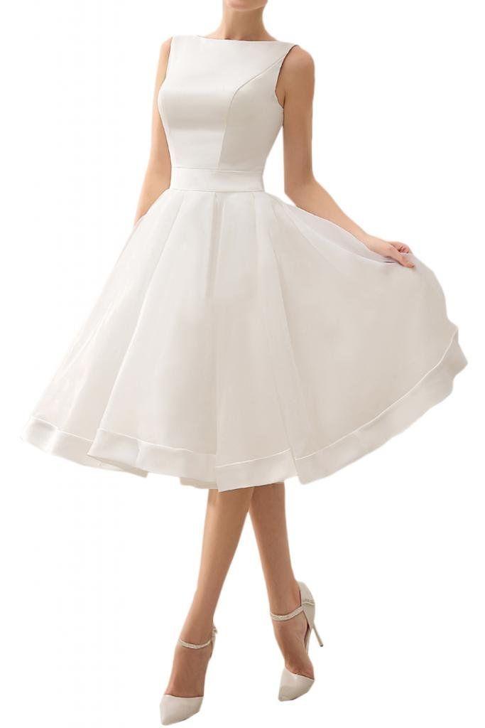 Angel Bride Ivory Short A-Line Bateau Sleeveless Beach Wedding Dresses- US Size 2