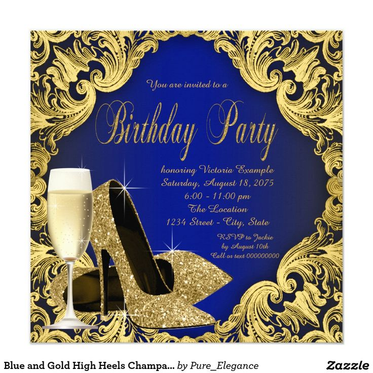 Blue and Gold High Heels Champagne Birthday Party ...