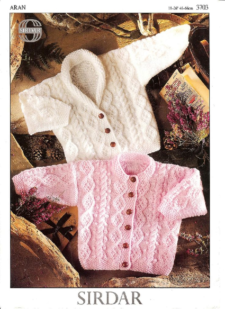 Baby Shawl Collar Knitting Pattern : Sirdar Knitting Pattern 3703, Aran, Baby Round Neck & Shawl Collar v Neck...