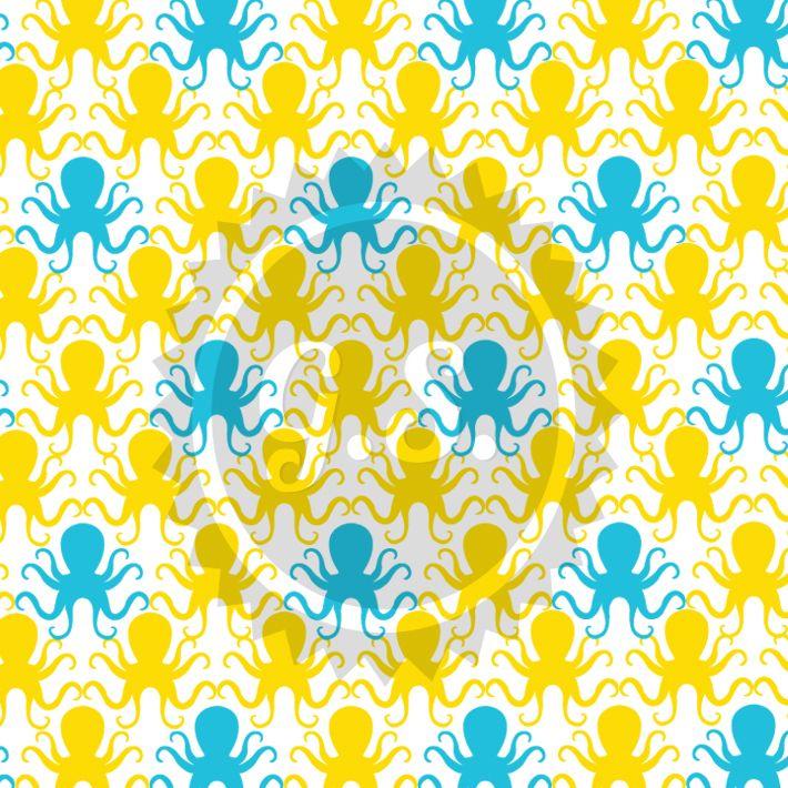 Summer Pattern: Blue & Yellow Octopus   #summerpattern #graphic_design #pattern