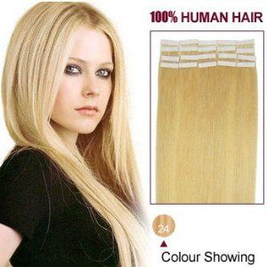 22 Inches Ash Blonde(24) 20pcs Tape In Human Hair Extensions by ALIHAIR. $64.97. 200-300strands are recommended for whole head.. Can be washed, heat styled.. High quality, tangle free, silky soft.. 100% Real remy human hair.. APPLICATION:1.Wash and condition the hair thoroughly. After washing, blow dry the hair so that it is straight with no styling products (do not grease or saturate the hair with any other oils). 2.Depending on the style of the extensions,For example, if yo...