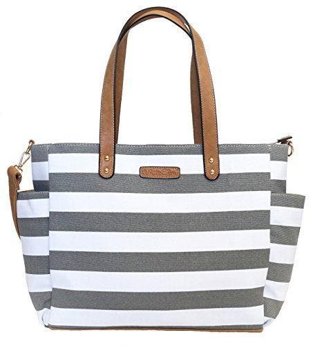 New Trending Tote Bags: Gray Stripe Tote Bag by White Elm -The Aquila (New Edition) Canvas  Vegan Leather. Gray Stripe Tote Bag by White Elm -The Aquila (New Edition) Canvas  Vegan Leather  Special Offer: $54.99  455 Reviews The Aquila Gray Striped Tote is versatile and functional. It can be used for any purpose and will coordinate with many outfits to make sure you get maximum use!...