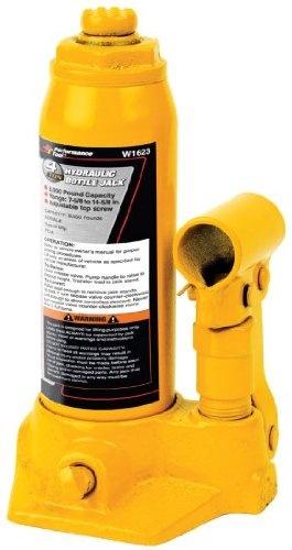 Performance Tool 4 Ton Hydraulic Bottle Jack part number W1623.  Adjustable top screw  Heavy duty base