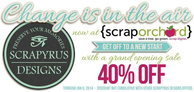 As you may have guessed now, Scrapyrus Designs has moved to Scrap Orchard and I am very excited with this great milestone. I hope you will follow us on that great journey and you can already start the year treating yourself with a huge sale, being on through January 9th. http://scraporchard.com/market/Scrapyrus-Designs/