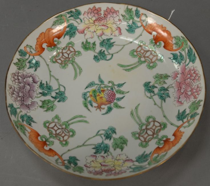 Chinese porcelain bat dish having enameled bats amongst blossoming flowers and five painted bats on the back, bottom center has six character mark