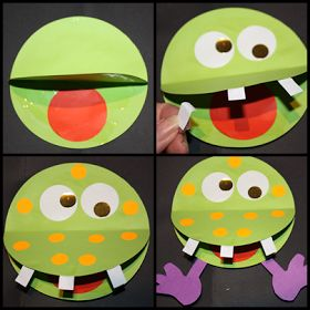 """Monster craft: A """"Monstrously"""" great way to build fine motor and visual motor skills for preschoolers! If cutting with scissors is too hard, grade it by having pre-cut shapes all ready to glue...encourage them to write the """"name"""" of their monster on the back (even if they don't know all their letters) :)"""