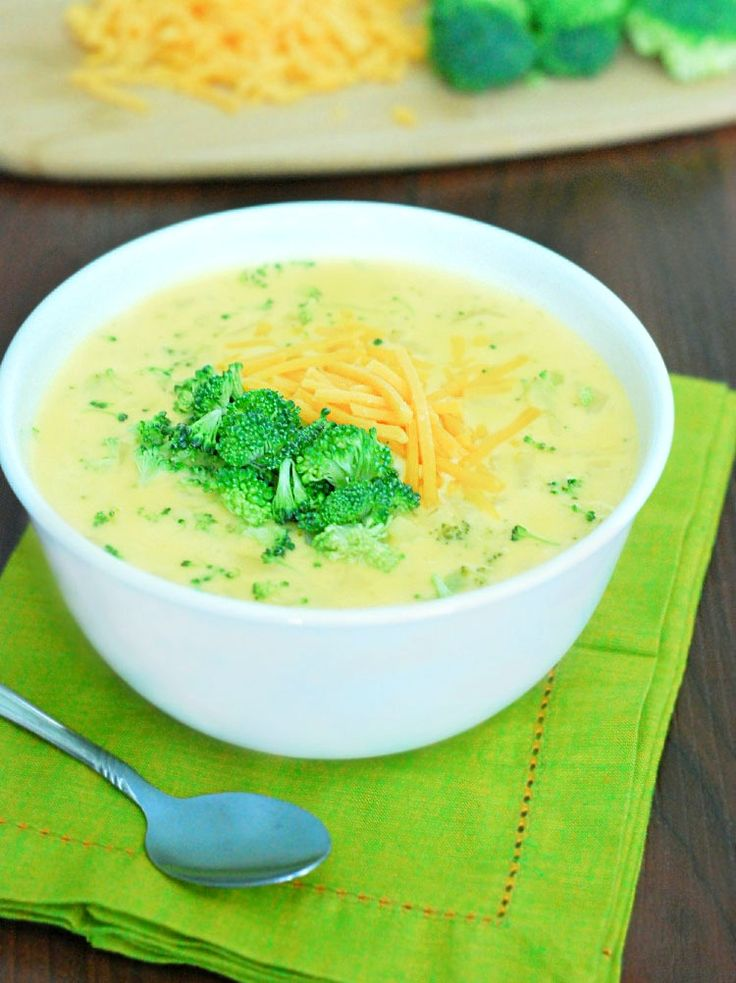 Broccoli Cheese Soup - so creamy, and it's actually healthy! Includes nutritional information.