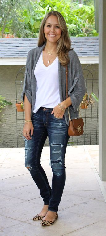 Love the casual cardi and jeans but the fun dressy pop of leopard shoes!
