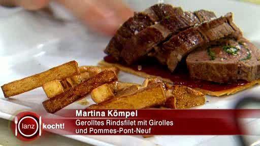 Gerolltes Rindsfilet mit Girolles und Pommes-Pont-Neuf - Rezept mit Video