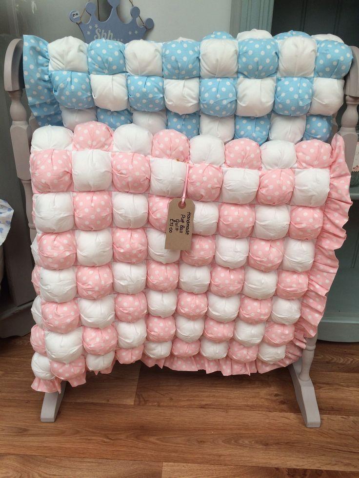 Handmade puff ball cot quilts