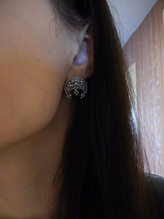 Sterling silver earrings Lunula. Moon earrings. LUNITSA. Moonjewellery