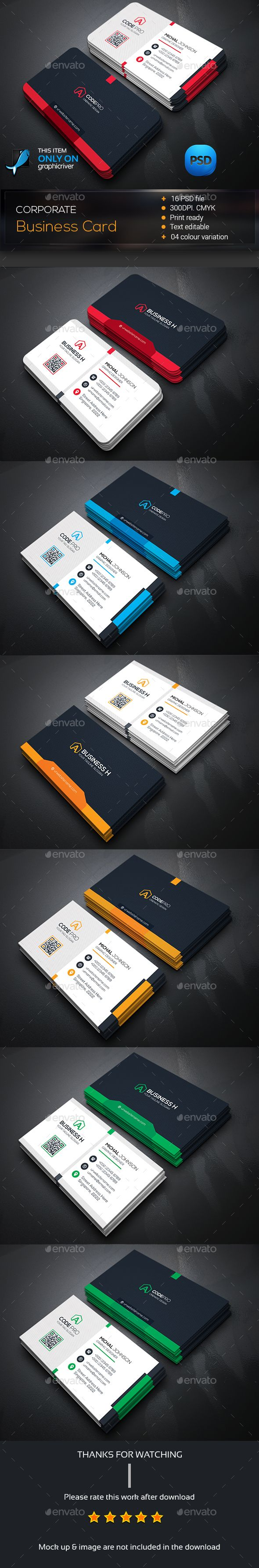 Corporate Business Card Template Bundle PSD #design Download: http://graphicriver.net/item/corporate-business-card-bundle/14429020?ref=ksioks