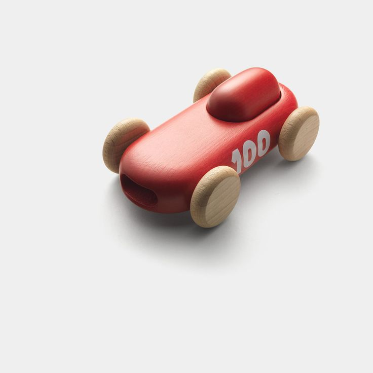 Permafrost's red wooden 100 racer car toy seen from above
