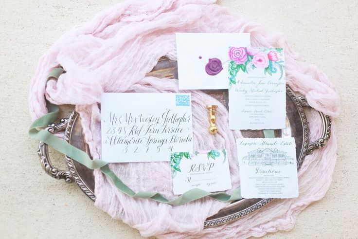 Super stunning invitation suite from a berry hued wedding inspiration