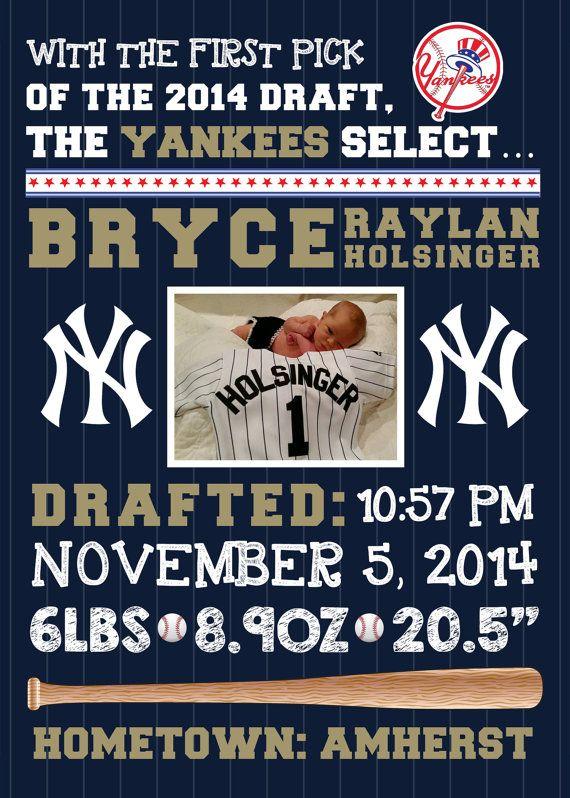 MLB New York Yankees Baseball Photo Birth by FaithFamilyFunDesign