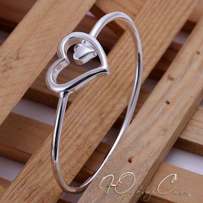 """Купить Браслет """"Открытое сердце II"""" браслеты покрытые серебром, с сердечками —…"""
