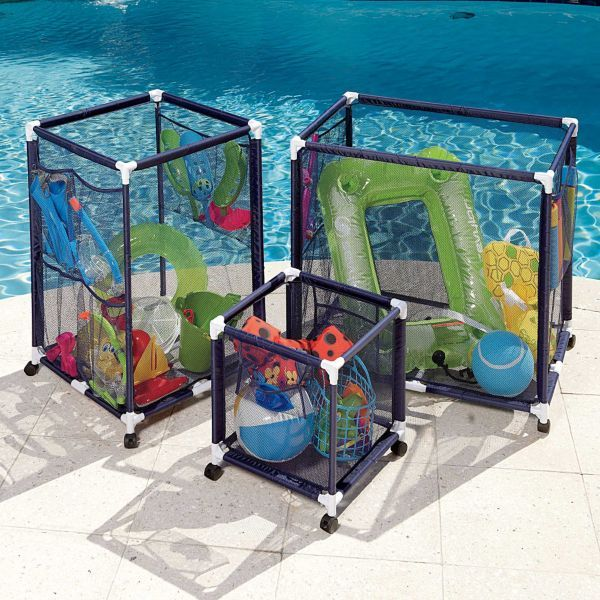 Pool Organization Ideas Pool Toy Organization Pool Toy Organization Yes Plant Baskets Mesh Laundry Bags Brilliant Organizing Stuff By The Pool Great Idea For Kids Pool Toys Flippers And Goggles Pool Organization