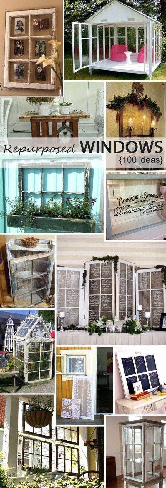 100 ideas. Repurposed windows. Bought 2 today @ a yard sale and trying to decide how to best use them :)