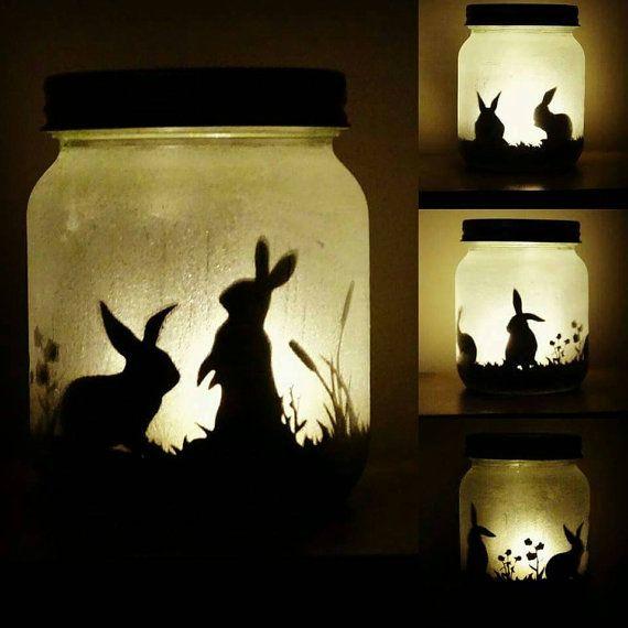 Bunny rabbit silhouette jar light lit by craftylittlefoxshops