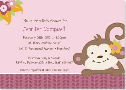 Girl Monkey Baby Shower Invitations