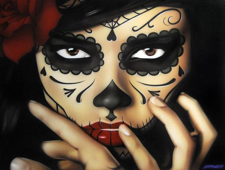 Priscila by Daniel Esparza Lowbrow Day of the Dead Canvas Art Print