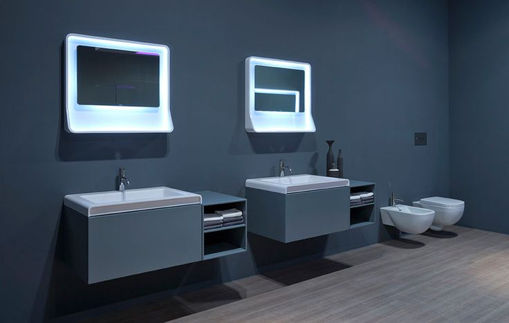 #antoniolupi LESTELLE collection comprises the furniture, Romeo, the washbasin, Igor, and the mirror, Cupid, the latter made of Ceramilux