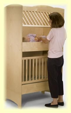 twin crib   @Heather Creswell Knight, here ya go a real spacesaver!  ha!  We had these in our church nursery when i was a teen!  LOL