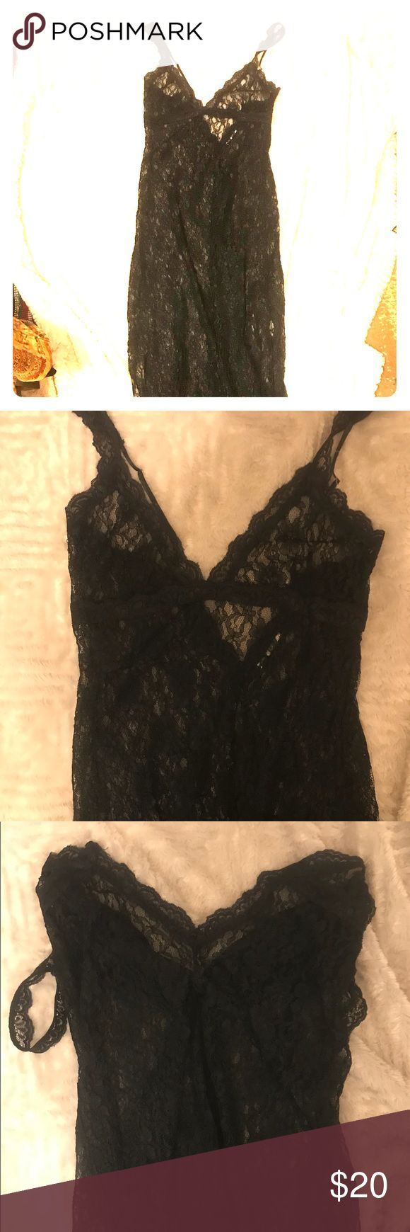 "Free People floor length black lace nighty I speak the truth, it's Free People- I went through a phase where I didn't want labels on anything (""Calvin Klein's no friend of mine, don't want nobody's name on my behind!""-Run DMC) bc I was a goth REBEL, missing tag is reflected in price! Floor length stretchy lace, & less see through than usual gown like that is. Length:52"" from top of triangles (has triangular coverings for mammaries, and adjustable straps. ""V"" neck PLUNGES 8"" in front & a 6""…"