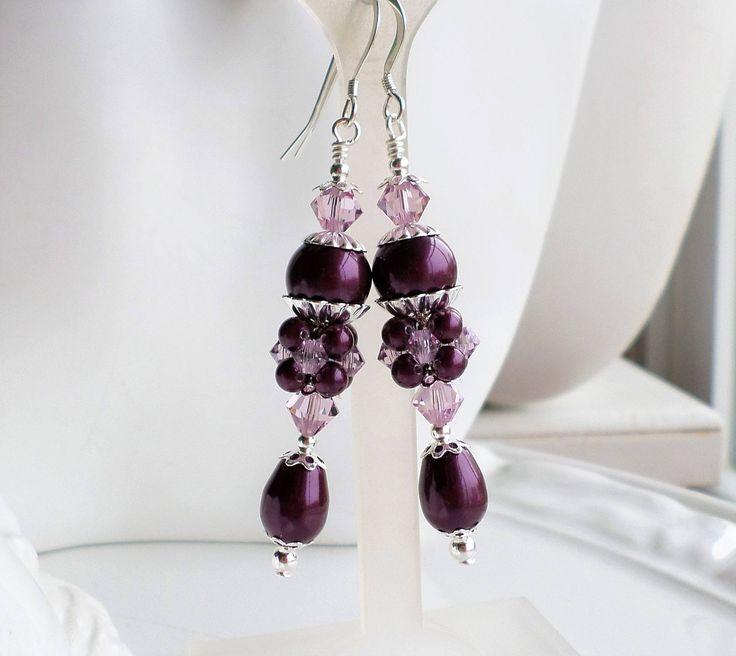 Blackberry Pearl Earrings, Amethyst Pearl Crystal Earrings, Purple Pearl Crystal Earrings, Long Pearl Earrings, Silver Earrings, Berry Pearl by hhjewelrydesigns on Etsy