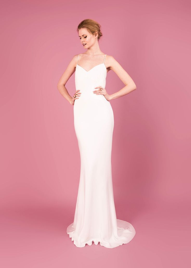 Modern wedding dress for the contemporary bride. Selena dress. Silk morocain gown with pleated polka dot tulle bust detail.