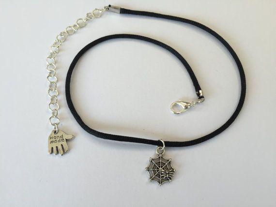 Choker Charm Necklace Silver Spiderweb 90s Choker by CelticBijou