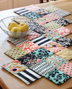 Zig Zag Runner - easy precut strips and squares quilting quickly quilts