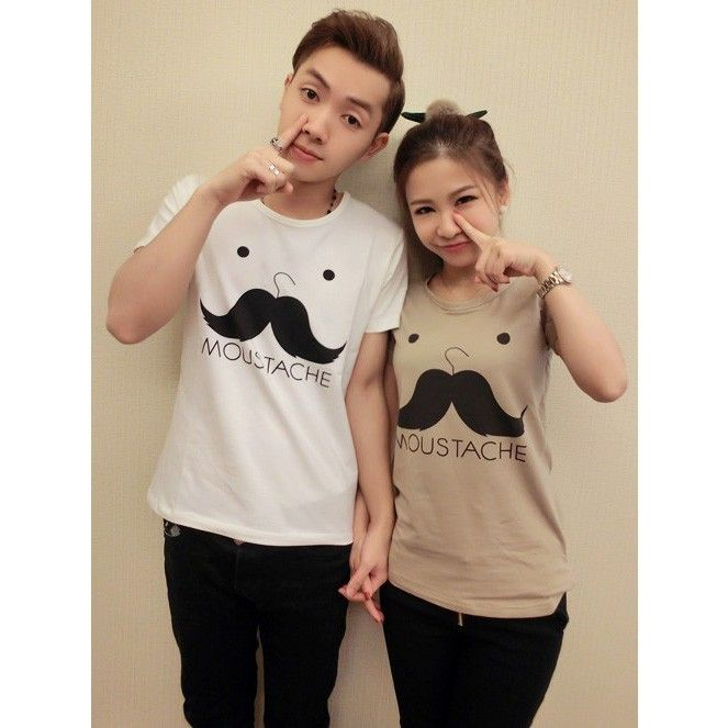 Moustache matching best t shirts for couples set of 2 for Best couple t shirt design