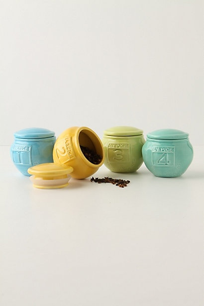 "L'Epice Jar $4.00 each  These squat, colorful ceramic spice jars are numbered and impressed with the saying, ""Plein de Bonnes Choses."" That is, full of good things.Kitchens Colors, L Epic Jars, Anthropology, Kitchen Colors, Gift Ideas, Spices Jars, Ceramics Spices, Lepic Jars, Kitchens Storage"